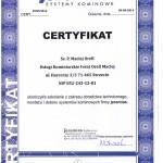 Certyfikat Jeremias Maciej Orell