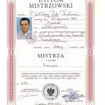 Dyplom Mistrzowski Kozłowski Bartłomiej